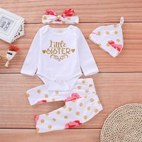 3-piece LITTLE SISTER Bodysuit Floral Pants and Hat for Baby Girl