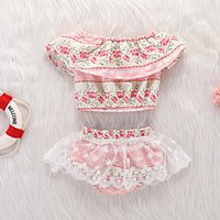 2-piece Flounced Floral Top and Mesh Overlay Shorts Set for Baby Girl
