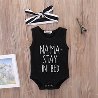 Stylish STAY IN BED Sleeveless Bodysuit and Headband Set in Black for Baby Boy