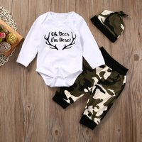 3-piece Cool Letter Bodysuit Camouflage Pants and Hat for Baby