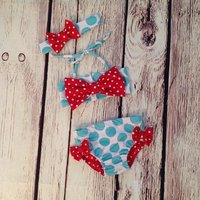 3-piece Polka Dots Ruffled Swimwear Set for Baby and Toddler Girls