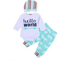 3-piece Letter Bodysuit Elephant Print Pants and Hat for Baby