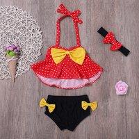 Sweet Flounced Bow Decor 2-piece Swimsuit and Headband Set for Baby Girl