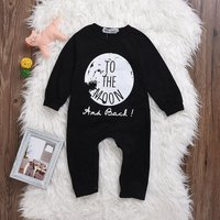 TO THE MOON Printed Long-sleeve Black Jumpsuit