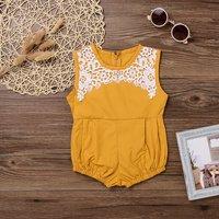 Adorable Lace Sleeveless Yellow Bodysuit