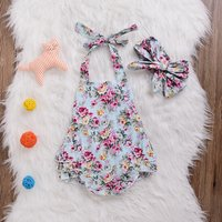 Beautiful Floral Ruffled Bodysuit and Headband Set for 0-6 Months