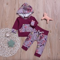 2-piece Comfy Floral Hooded Top and Pants in Crimson for Baby Girl