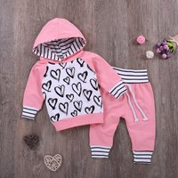 Baby Girl 2-piece Valentine Heart Print Striped Hoodie and Pants