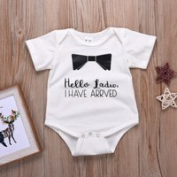 Adorable Ribbon and Letter Print Romper for 3-12 Months Baby