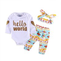 3-piece Glitter Letter Bodysuit Geo Patterm Pants and Headband for Baby
