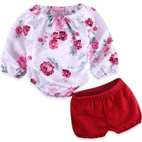 2-piece Pretty Long Sleeves Floral Bodysuit and Red Shorts Set for Baby Girl
