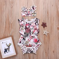 2-piece Pretty Sleeveless Floral Romper and Headband for Baby Girl