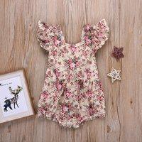 Pretty Flutter Sleeves Floral Bodysuit for Baby Girl