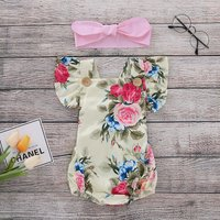 Pretty Flutter-sleeve Floral Bodysuit with Headband for Baby Girl