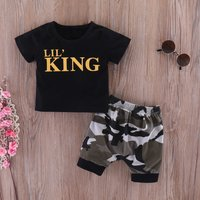 2-piece Cool Letter Tee and Camouflage Shorts Set for Baby Boy