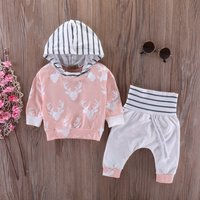 Pretty Striped Elk Print Hoodie and Pants Set in Light Pink for Baby Girl
