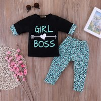 Comfy GIRL BOSS Print Long-sleeve T-shirt and Floral Pants Set in Black for Baby Girl