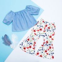 2-piece Trendy Off Shoulder Denim Top and Flare Cuffs Floral Pants for Baby Girl