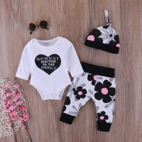 3-piece Lovely Love Letter Print Bodysuit Floral Pattern Pants and Hat for Baby Girl