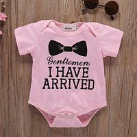Lovely Bow Print Short-sleeve Bodysuit in Pink for 9-18 Months Baby