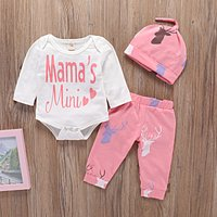 3-piece Pretty Letter Print Top and Elk Pattern Pants with Hat Set for Baby