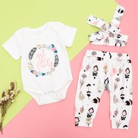 3-piece Cute Feather Print Top and Feather Pattern Pants with Headband Set