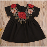 Stylish Embroidered Flower Cinched Short-sleeve Dress in Black for Baby and Toddler Girl