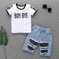 Trendy BOY BYE Print Short-sleeve T-shirt and Fishnet Frayed Denim Shorts Set for Baby and Toddler B