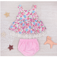 Pretty Floral Sleeveless Dress and Shorts Set for Baby Girl