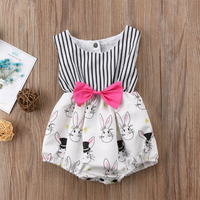 Adorable Rabbit Print Striped Sleeveless Bodysuit for Baby Girl
