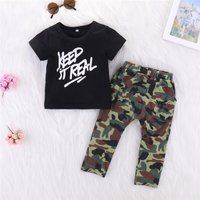 Chic Letter Print Short-sleeve Tee and Camouflage Pants Set for Toddler Boys and Boys