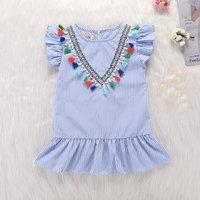 Lovely Pinstriped V Design Tassel Flutter-sleeve Dress for Toddler Girls and Girls