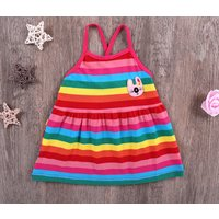 Lovely Rabbit Applique Rainbow Striped Slip Dress for Baby Girl