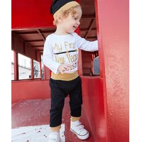 3-piece Letter Print Long-sleeve Tee, Pants and Hat Set for Baby Boy
