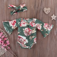 Pretty Floral Flare-sleeve Romper and Headband Set for Baby Girl