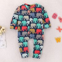 Cute Colorful Elephant Print Long-sleeve Jumpsuit for Baby