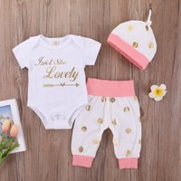 Lovely Letter Bodysuit Golden Polka Dots Pants and Hat Set for Baby Girl