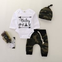 3-piece Letter Bodysuit Camouflage Pants and Hat Set for Baby Boy