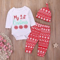 3-piece My 1st Christmas Snowflake Print Bodysuit, Pants and Hat Set