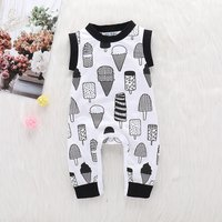 Lovely Ice-cream Print Sleeveless Jumpsuit for Baby Girl