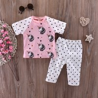 Cute Unicorn Print Short-sleeve Tee and Triangle Pants Set for Baby Girl