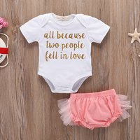 2-piece Cute Letter Print Bodysuit and Layered PP Shorts Set for Baby Girl