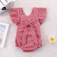 Classixc Flutter-sleeve Bowknot Plaid Romper for Baby Girl