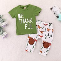 Cute Be Thankful T-shirt and Fox Print Pants Set for Baby