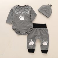 3-piece Cute Bear Paw Print Bodysuit, Pants and Hat Set for Bay Boy