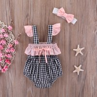 Sweet Ruffled Plaid Strap Romper and Headband Set for Baby Girl