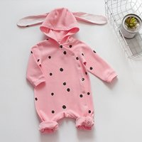Stylish Dotted Long-sleeve Hooded Jumpsuit in Pink for Baby Girl