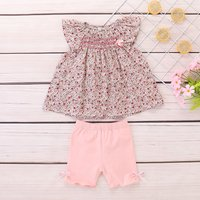 Sweet Floral Flutter-sleeve Top and Solid Shorts Set for Baby Girl