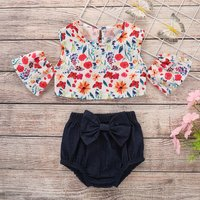 Sweet Floral Cold Shoulder Top and Solid Bloomers Set for Baby Girl