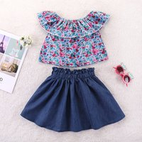 2-piece Stylish Floral Ruffled Top and Skirt Set for Toddler Girl and Girl